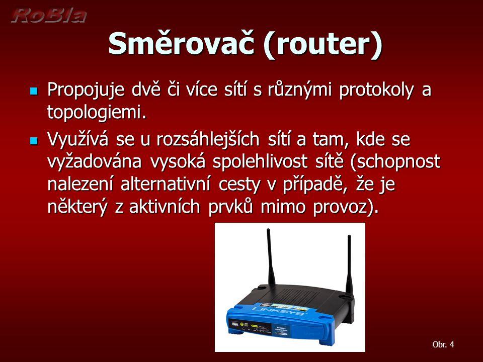 Směrovač (router) Propojuje dvě či více sítí s různými protokoly a topologiemi.