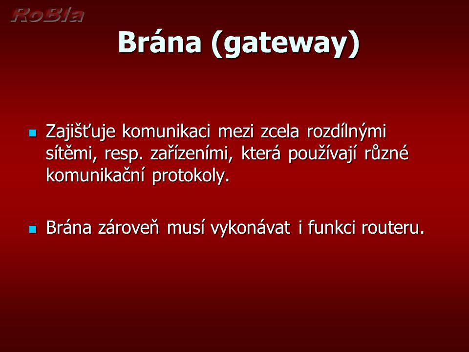 Brána (gateway) Zajišťuje komunikaci mezi zcela rozdílnými sítěmi, resp. zařízeními, která používají různé komunikační protokoly.