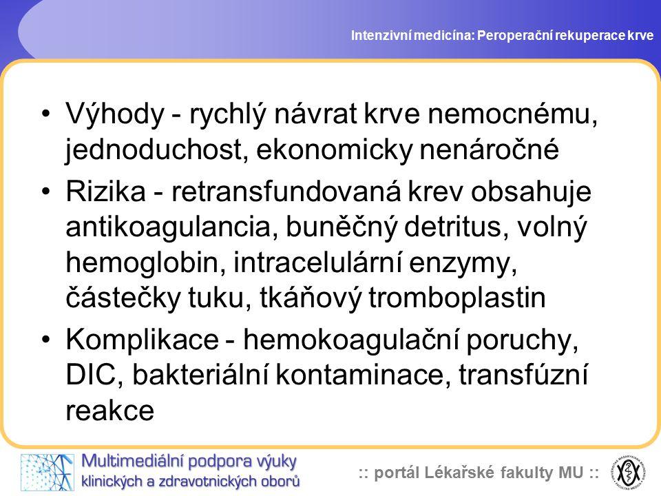 Intenzivní medicína: Peroperační rekuperace krve