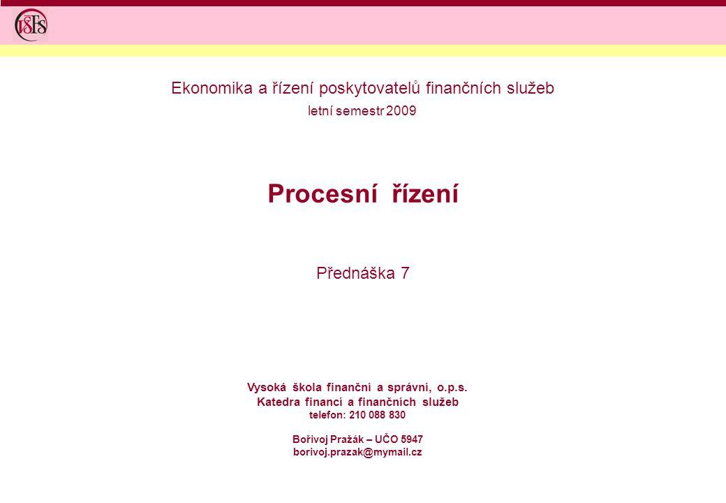 Ekonomika a řízení poskytovatelů finančních služeb
