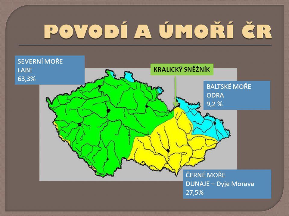 POVODÍ A ÚMOŘÍ ČR SEVERNÍ MOŘE LABE 63,3% KRALICKÝ SNĚŽNÍK