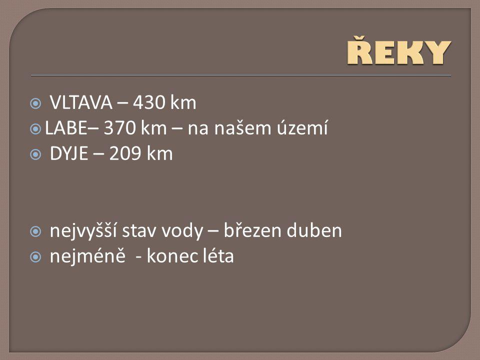 ŘEKY VLTAVA – 430 km LABE– 370 km – na našem území DYJE – 209 km
