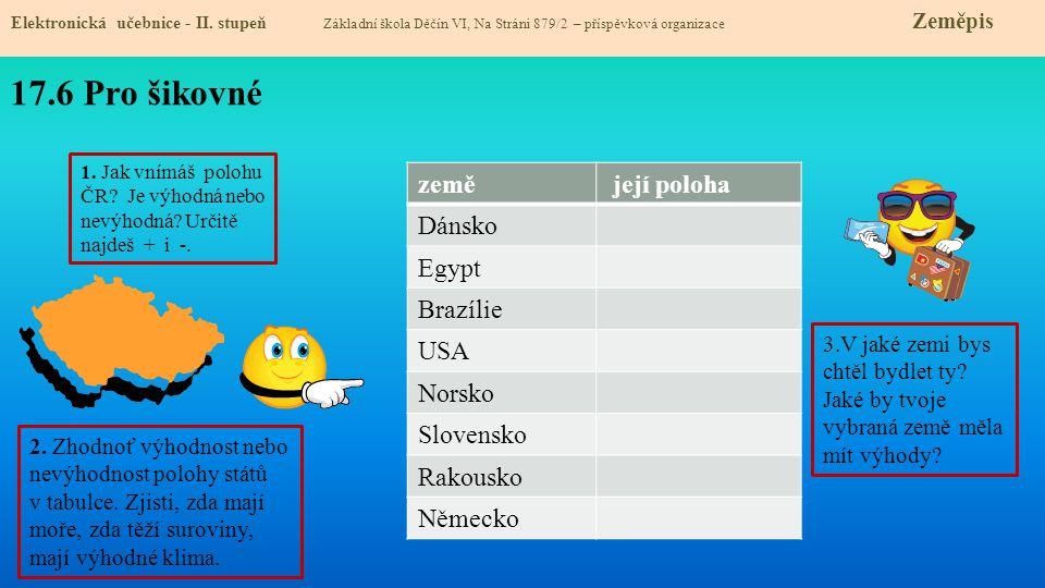 17.6 Pro šikovné země její poloha Dánsko Egypt Brazílie USA Norsko