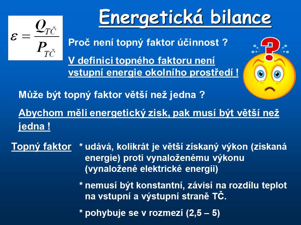 Energetická bilance Proč není topný faktor účinnost