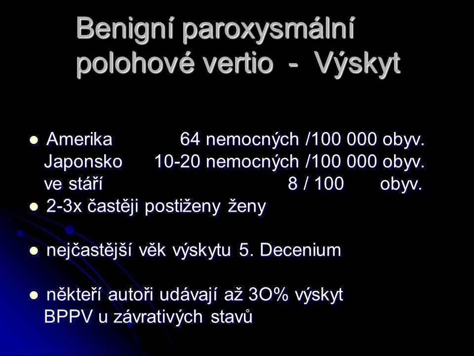 Benigní paroxysmální polohové vertio - Výskyt