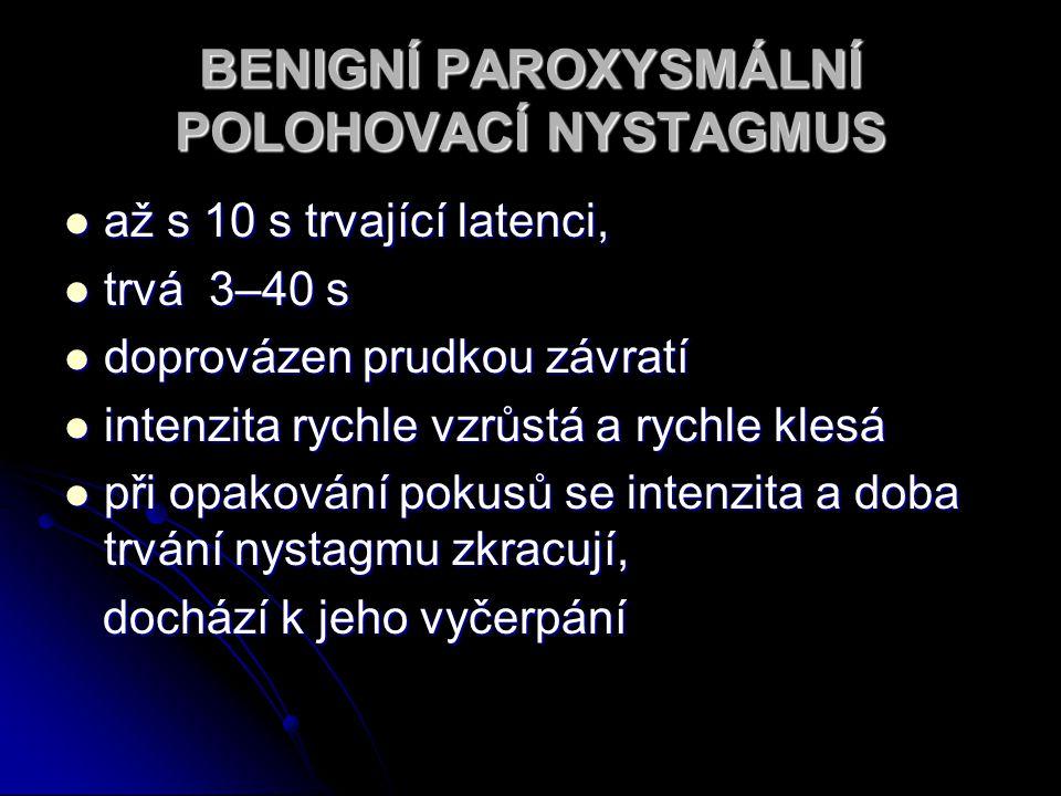 BENIGNÍ PAROXYSMÁLNÍ POLOHOVACÍ NYSTAGMUS