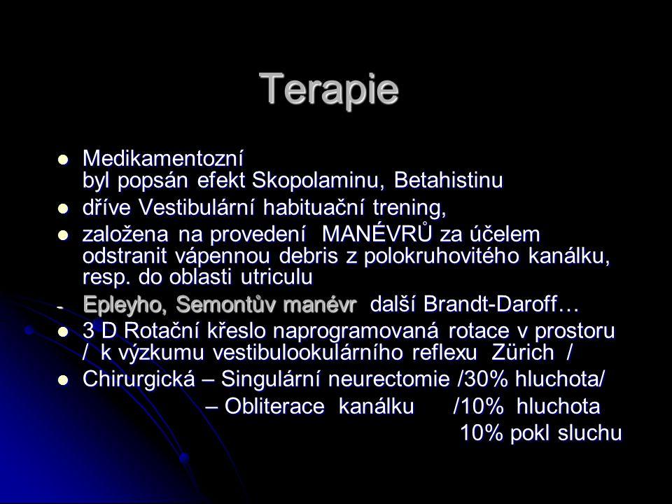 Terapie Medikamentozní byl popsán efekt Skopolaminu, Betahistinu