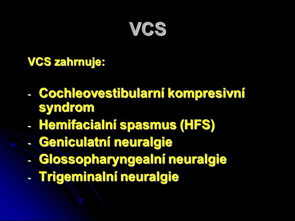 VCS Cochleovestibularní kompresivní syndrom Hemifacialní spasmus (HFS)
