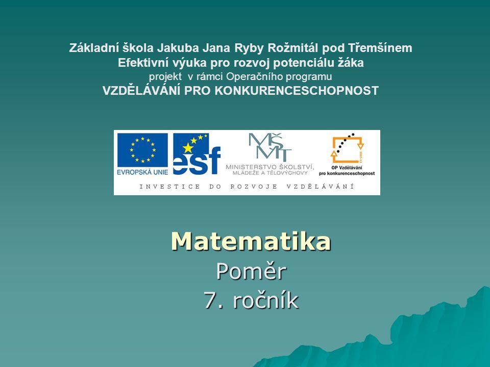 Matematika Poměr 7. ročník