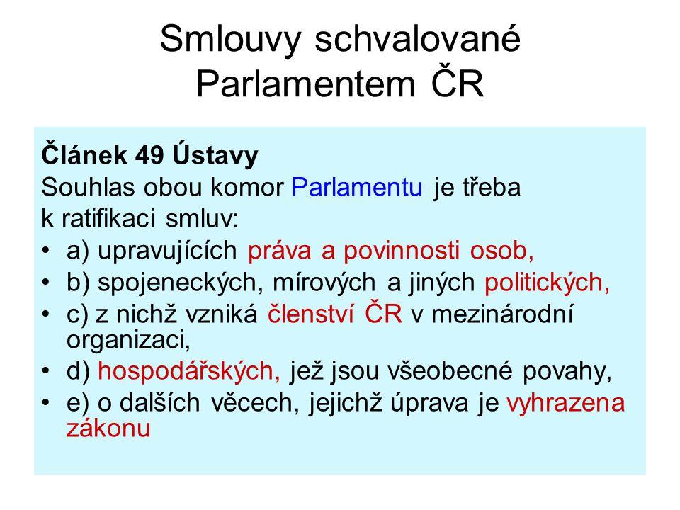 Smlouvy schvalované Parlamentem ČR