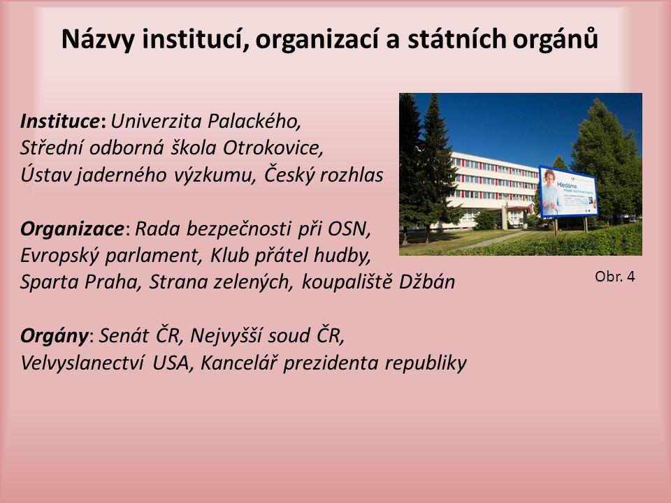 Názvy institucí, organizací a státních orgánů