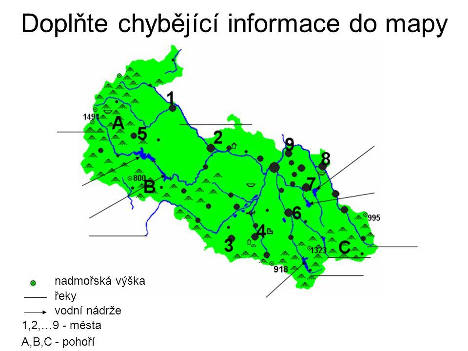 Doplňte chybějící informace do mapy
