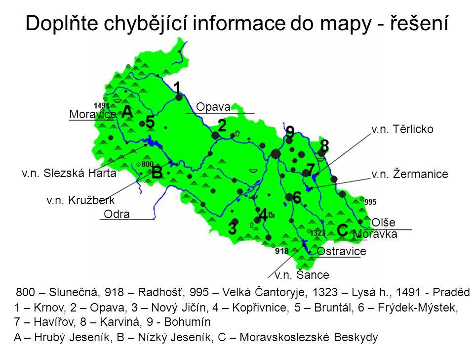 Doplňte chybějící informace do mapy - řešení