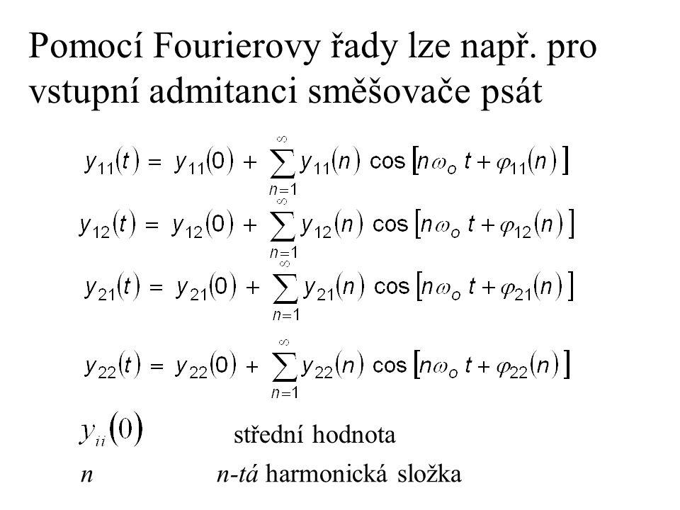 Pomocí Fourierovy řady lze např. pro vstupní admitanci směšovače psát