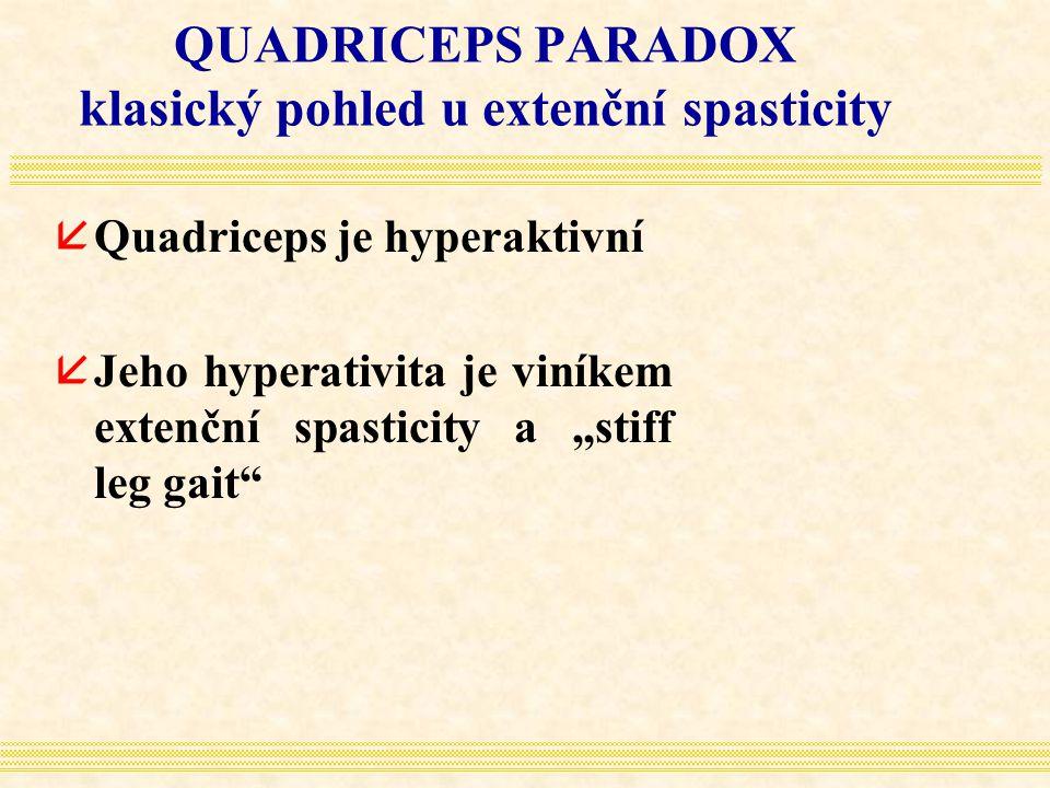 QUADRICEPS PARADOX klasický pohled u extenční spasticity