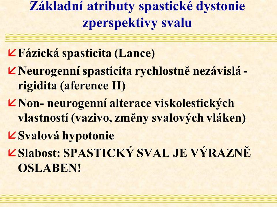Základní atributy spastické dystonie zperspektivy svalu