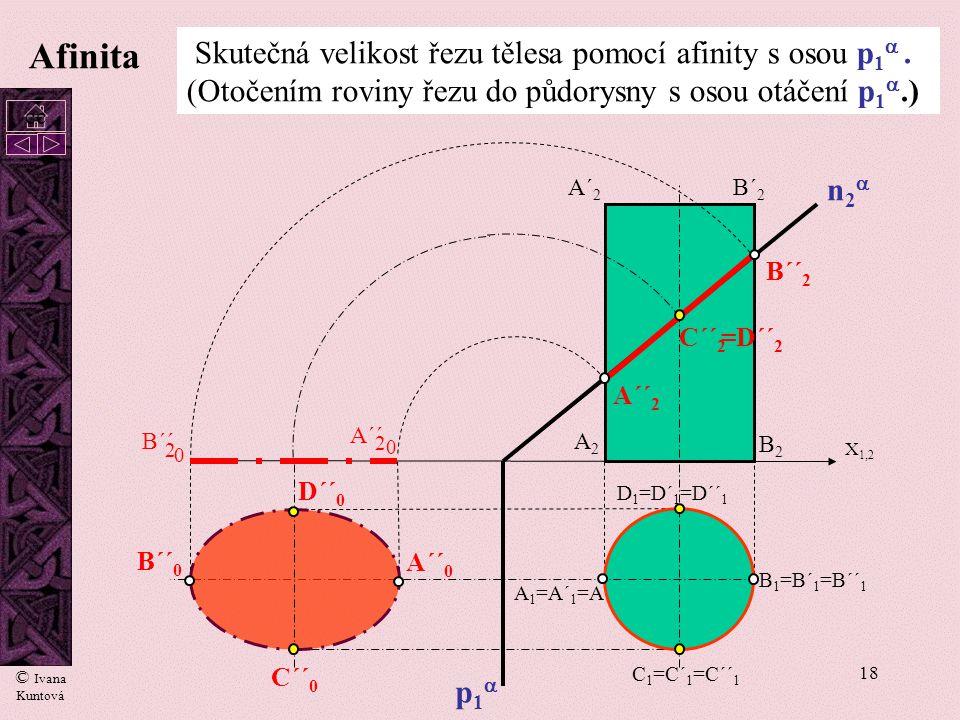 Afinita Skutečná velikost řezu tělesa pomocí afinity s osou p1 . (Otočením roviny řezu do půdorysny s osou otáčení p1.)