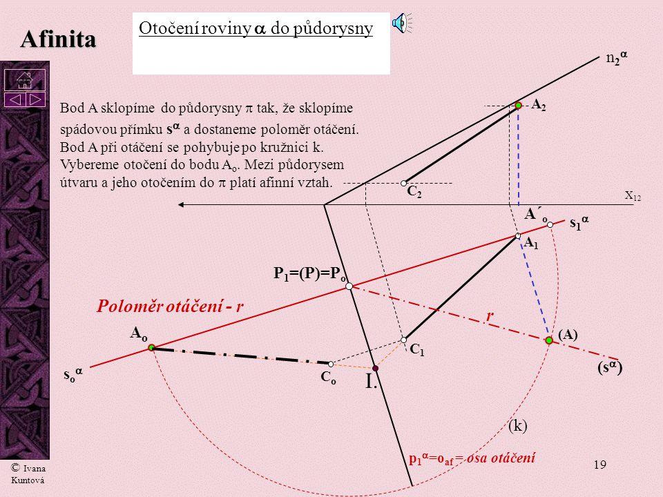 Afinita I. Otočení roviny a do půdorysny Poloměr otáčení - r r n2a cc
