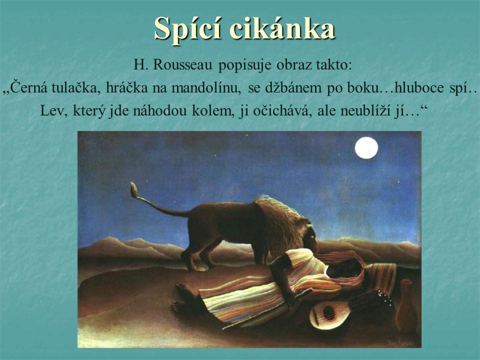 Spící cikánka H. Rousseau popisuje obraz takto: