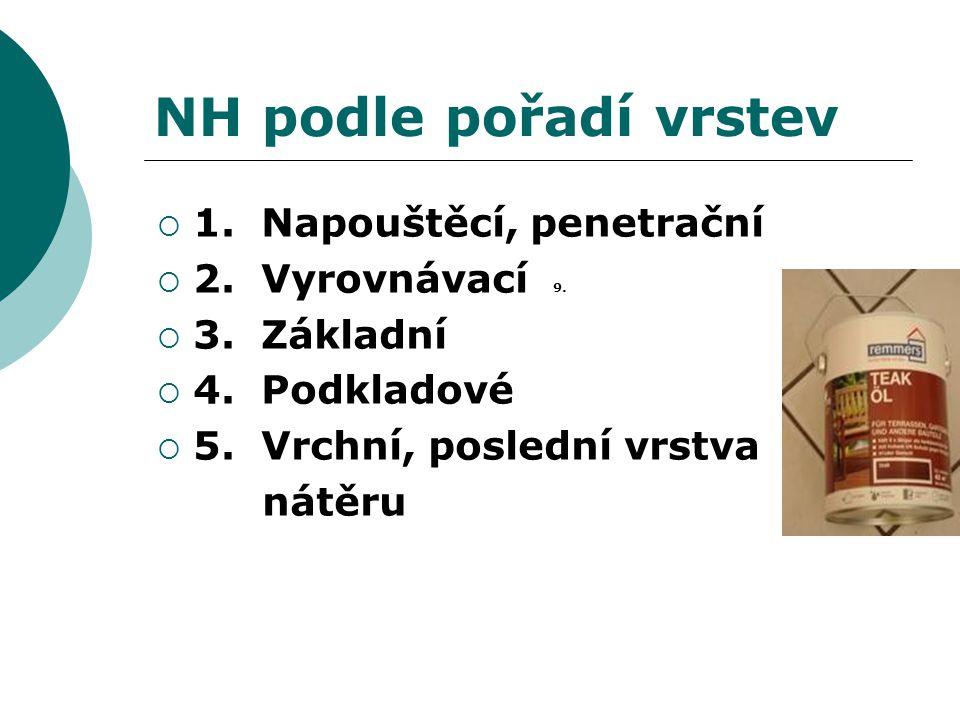 NH podle pořadí vrstev 1. Napouštěcí, penetrační 2. Vyrovnávací 9.