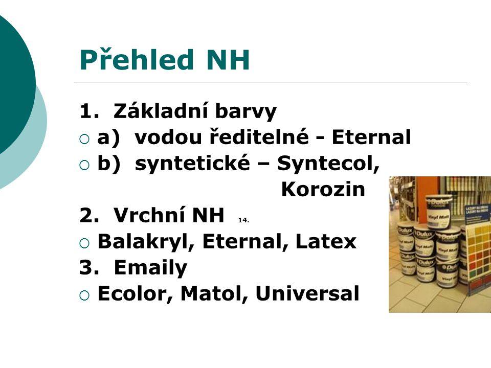 Přehled NH 1. Základní barvy a) vodou ředitelné - Eternal