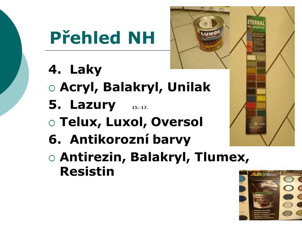 Přehled NH 4. Laky Acryl, Balakryl, Unilak 5. Lazury 15.-17.