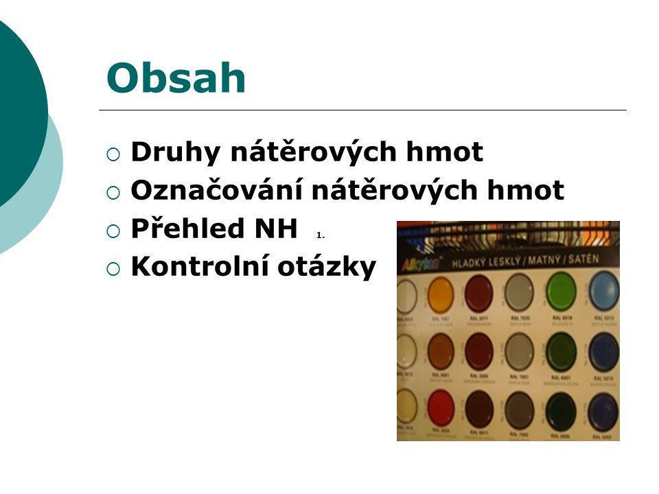 Obsah Druhy nátěrových hmot Označování nátěrových hmot Přehled NH 1.