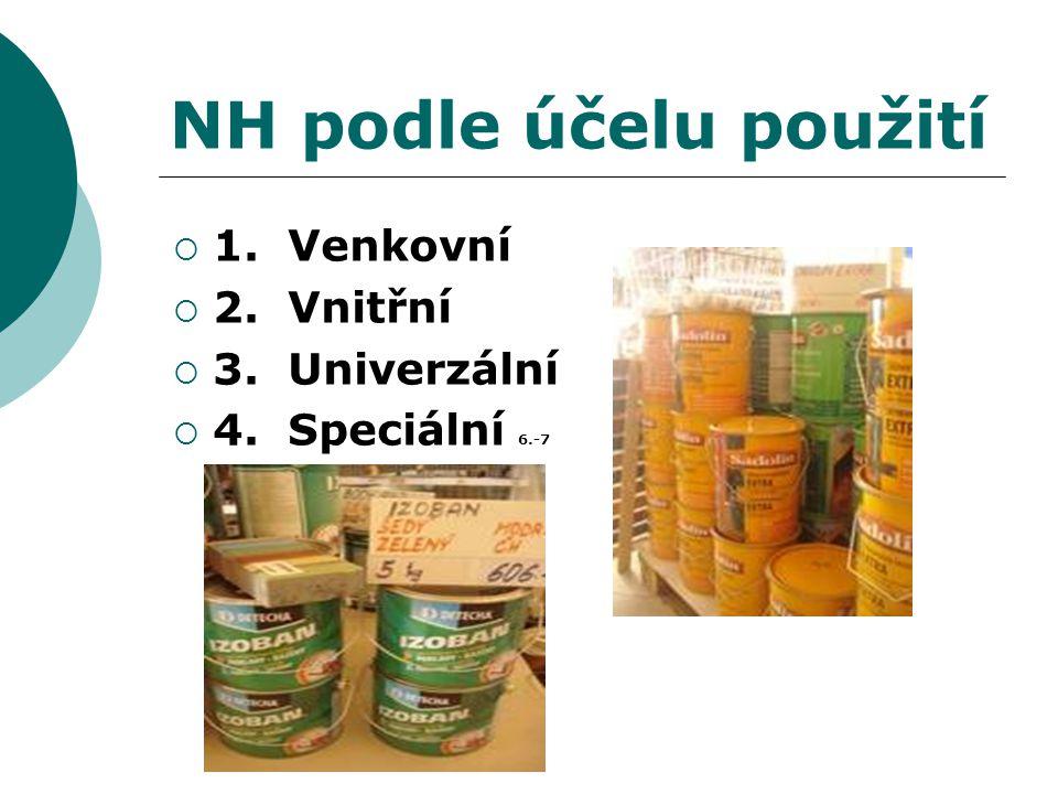NH podle účelu použití 1. Venkovní 2. Vnitřní 3. Univerzální