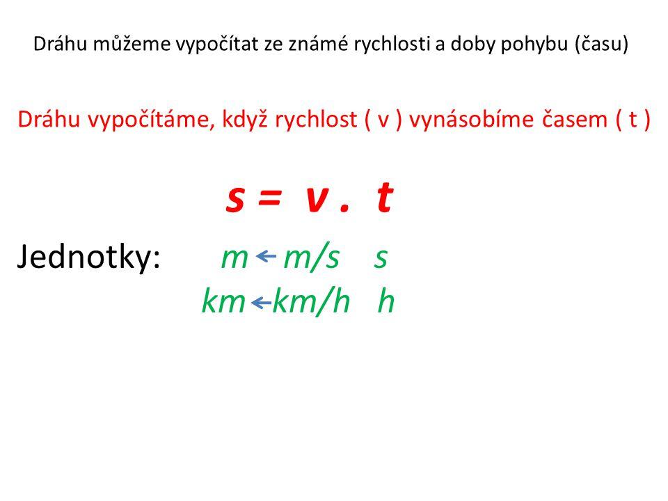 s = v . t Jednotky: m m/s s km km/h h