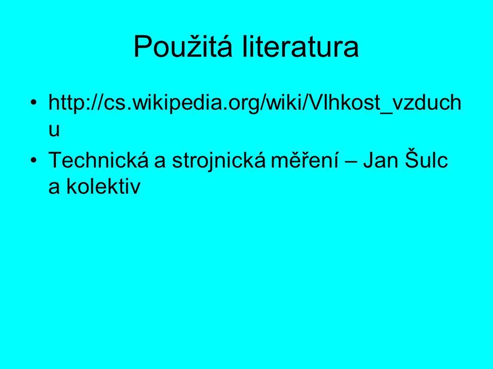 Použitá literatura http://cs.wikipedia.org/wiki/Vlhkost_vzduchu