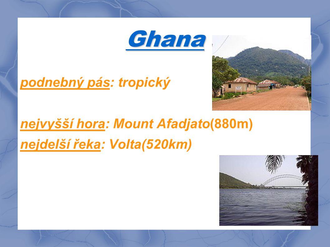 Ghana podnebný pás: tropický nejvyšší hora: Mount Afadjato(880m)