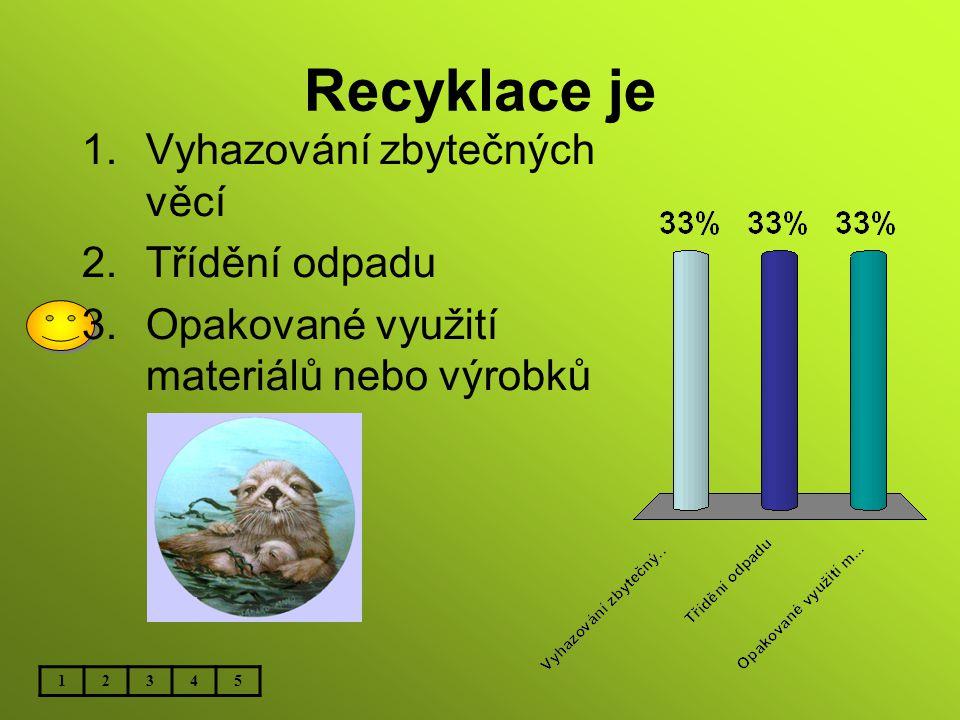 Recyklace je Vyhazování zbytečných věcí Třídění odpadu