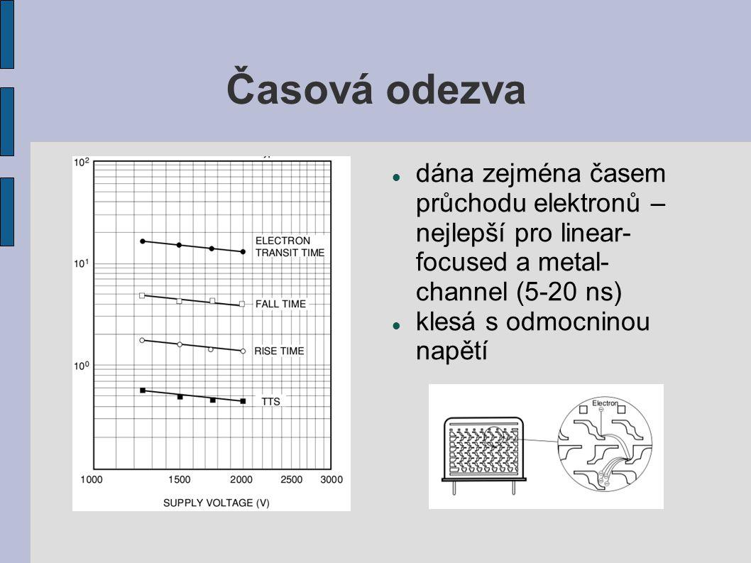 Časová odezva dána zejména časem průchodu elektronů – nejlepší pro linear-focused a metal-channel (5-20 ns)