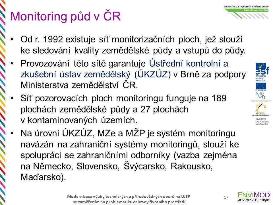 Monitoring půd v ČR Od r. 1992 existuje síť monitorizačních ploch, jež slouží ke sledování kvality zemědělské půdy a vstupů do půdy.