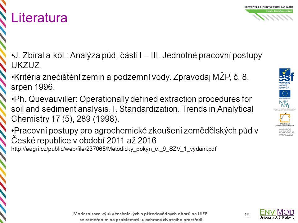 Literatura J. Zbíral a kol.: Analýza půd, části I – III. Jednotné pracovní postupy UKZUZ.