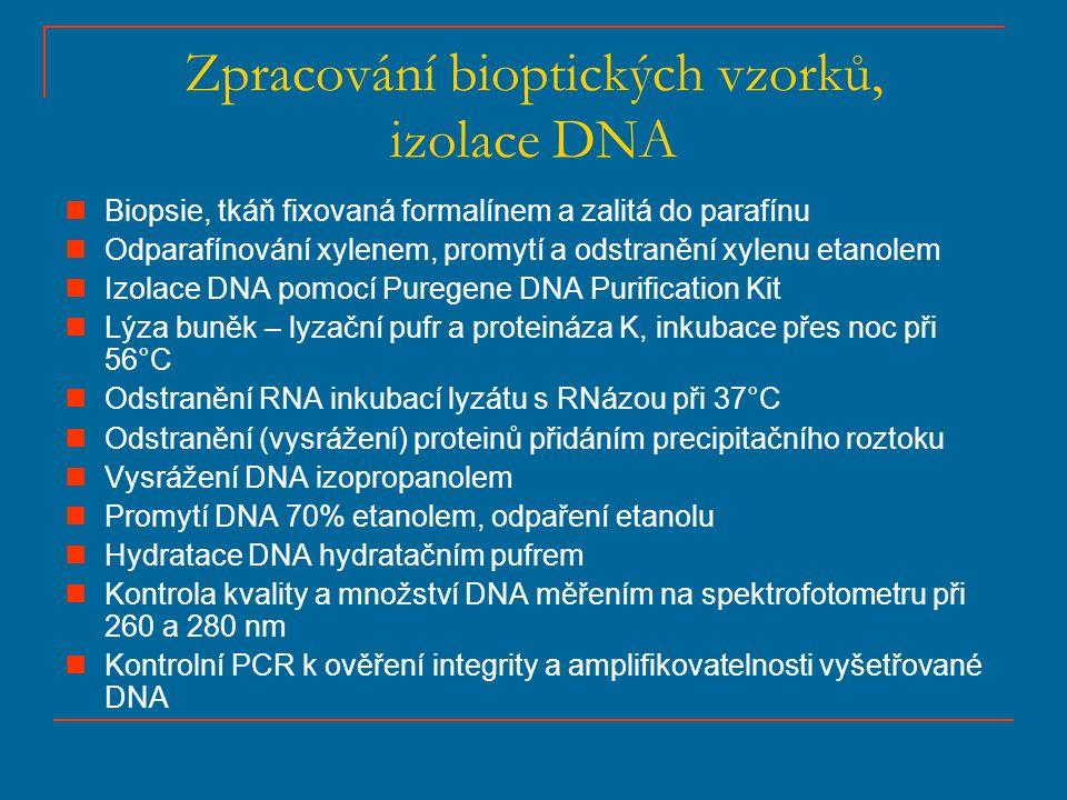 Zpracování bioptických vzorků, izolace DNA