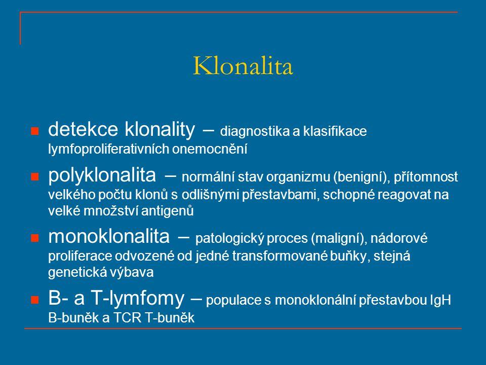 Klonalita detekce klonality – diagnostika a klasifikace lymfoproliferativních onemocnění.