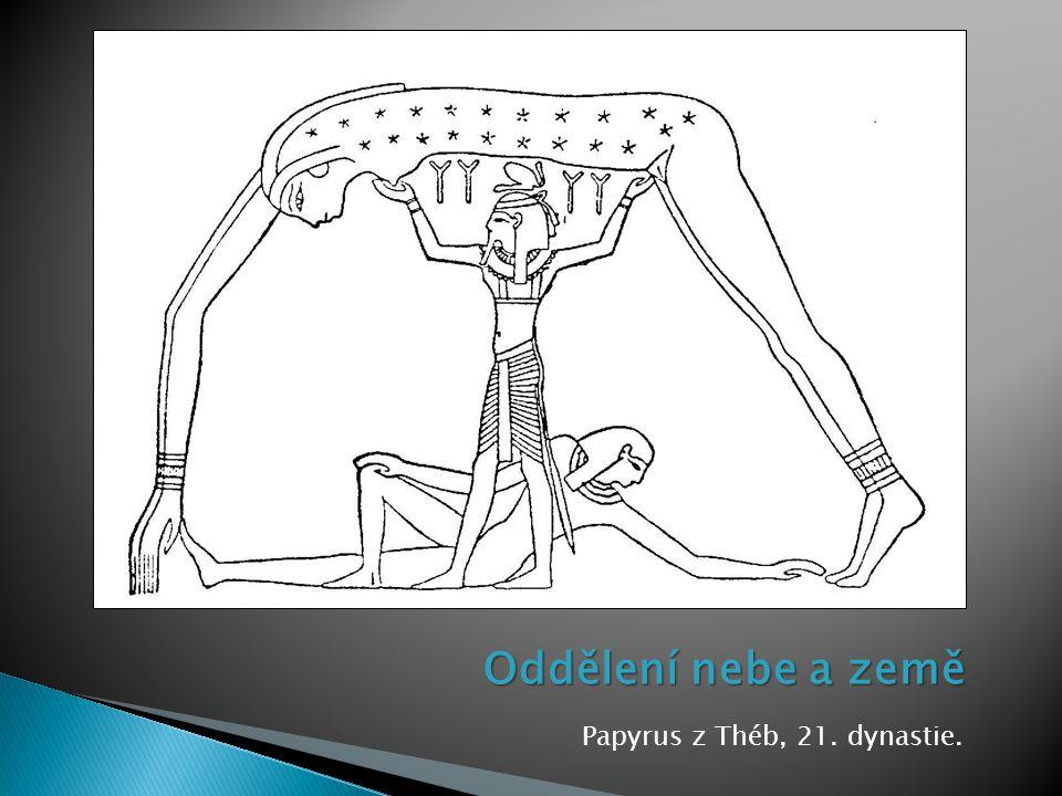 Oddělení nebe a země Papyrus z Théb, 21. dynastie.
