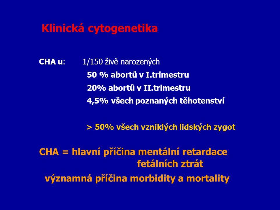 CHA = hlavní příčina mentální retardace fetálních ztrát