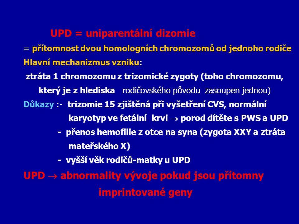 UPD  abnormality vývoje pokud jsou přítomny imprintované geny