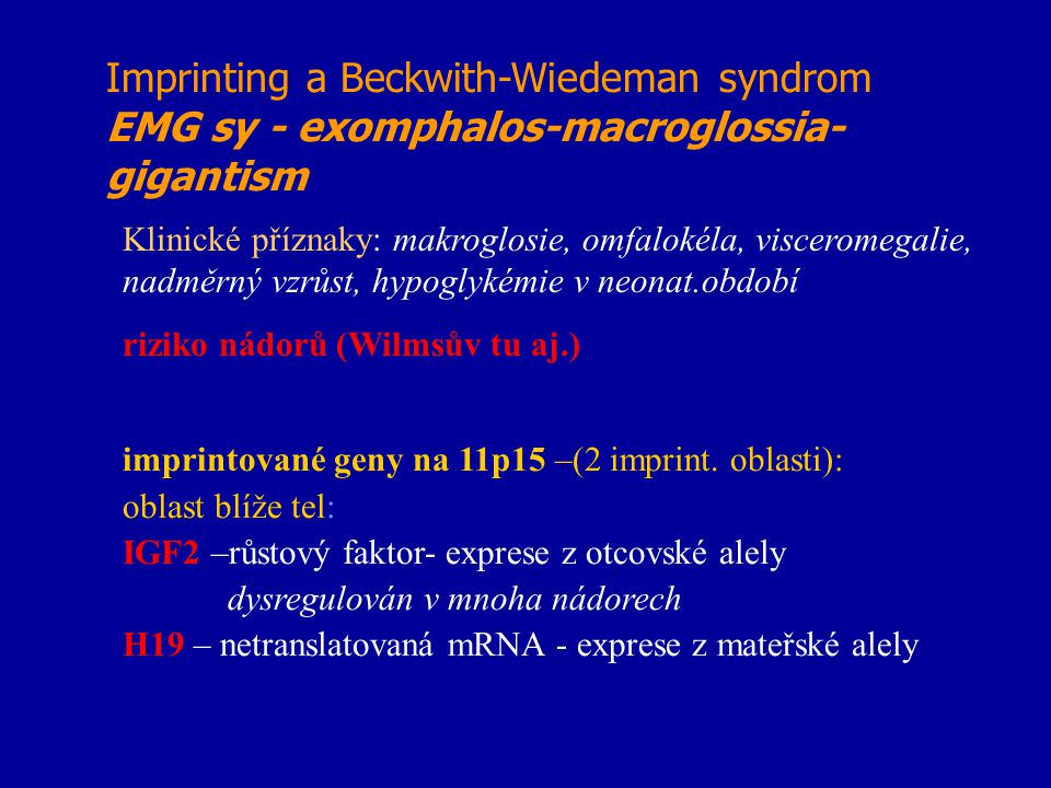 Imprinting a Beckwith-Wiedeman syndrom EMG sy - exomphalos-macroglossia-gigantism