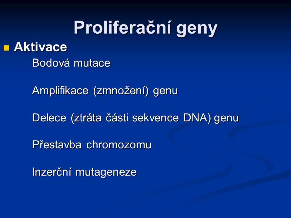 Proliferační geny Aktivace Bodová mutace Amplifikace (zmnožení) genu