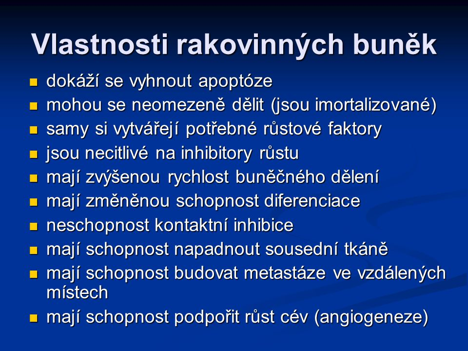 Vlastnosti rakovinných buněk