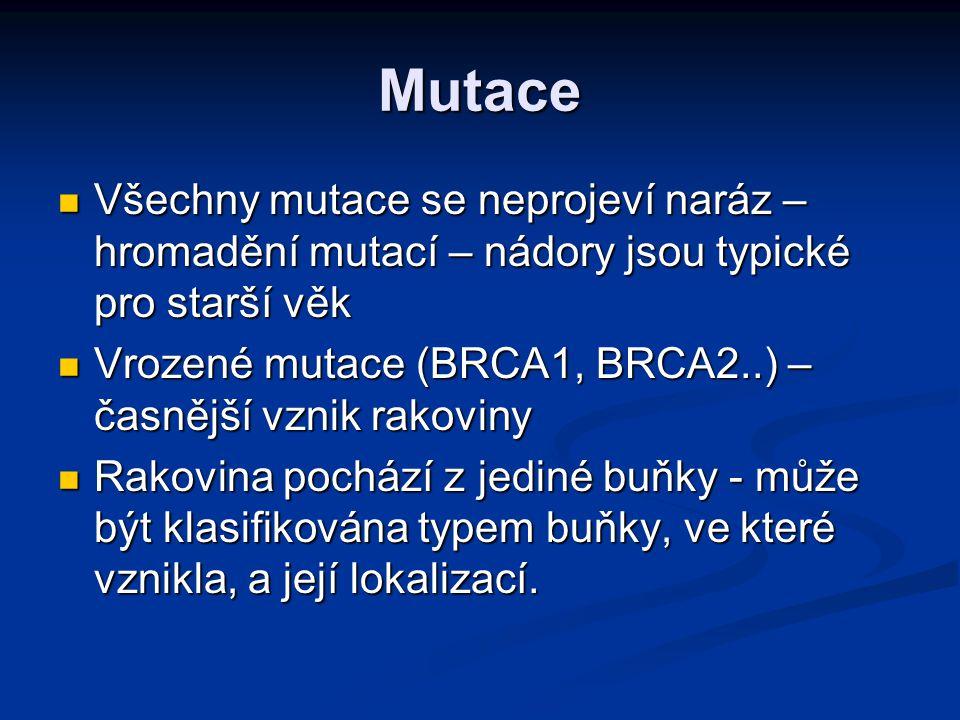 Mutace Všechny mutace se neprojeví naráz – hromadění mutací – nádory jsou typické pro starší věk.