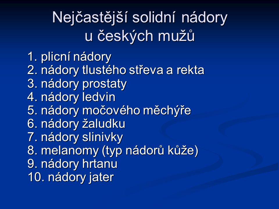 Nejčastější solidní nádory u českých mužů