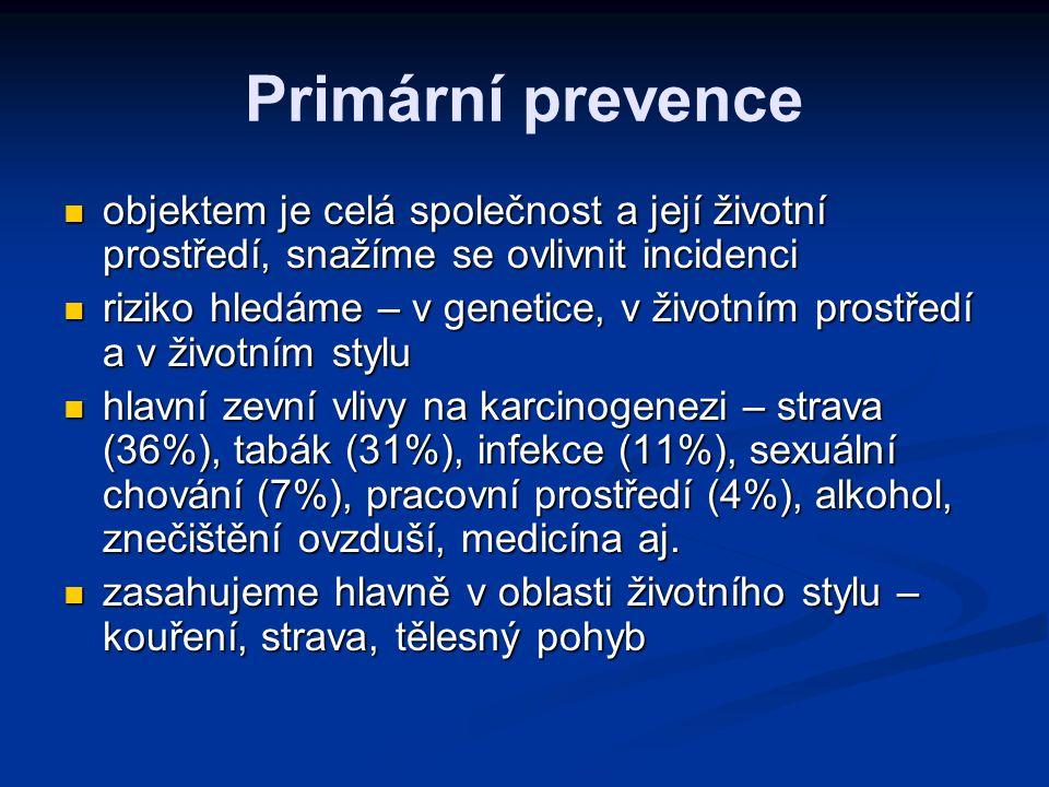 Primární prevence objektem je celá společnost a její životní prostředí, snažíme se ovlivnit incidenci.