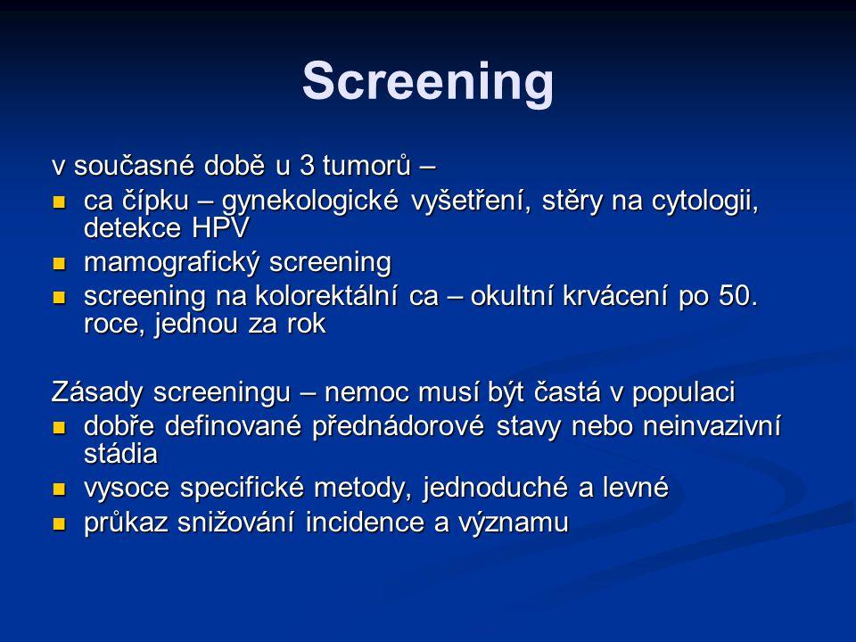 Screening v současné době u 3 tumorů –