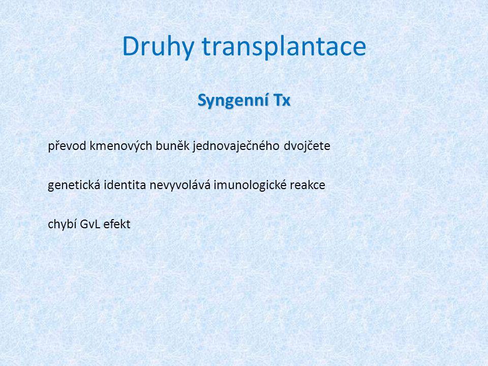 Druhy transplantace Syngenní Tx