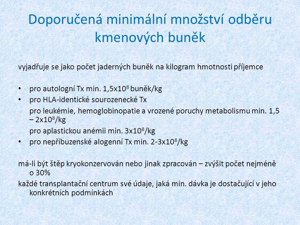 Doporučená minimální množství odběru kmenových buněk