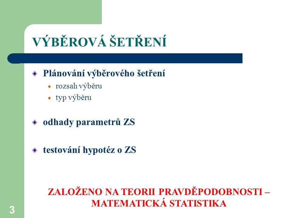 ZALOŽENO NA TEORII PRAVDĚPODOBNOSTI – MATEMATICKÁ STATISTIKA